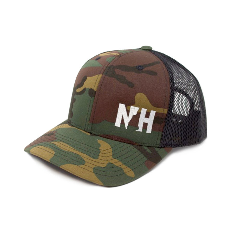 Image of NH Snapback Trucker Cap- Forest Camo/Black