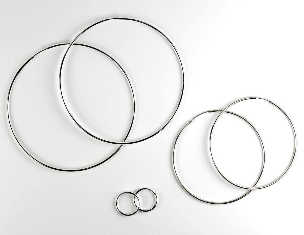 Medium Sterling Silver Endless Hoop Earrings