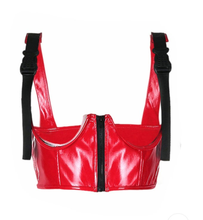 Image of Red Underboob Leather Corset