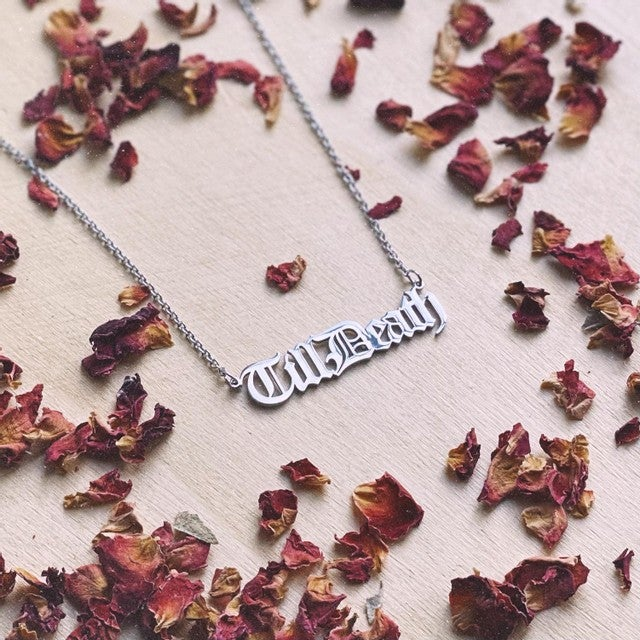 Image of Till Death Stainless Steel Script Necklace