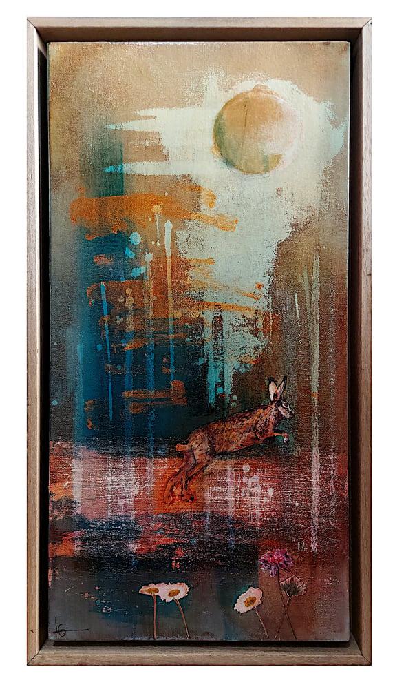 Image of Original Canvas - Leaping Hare in Rain - 30cm x 60cm