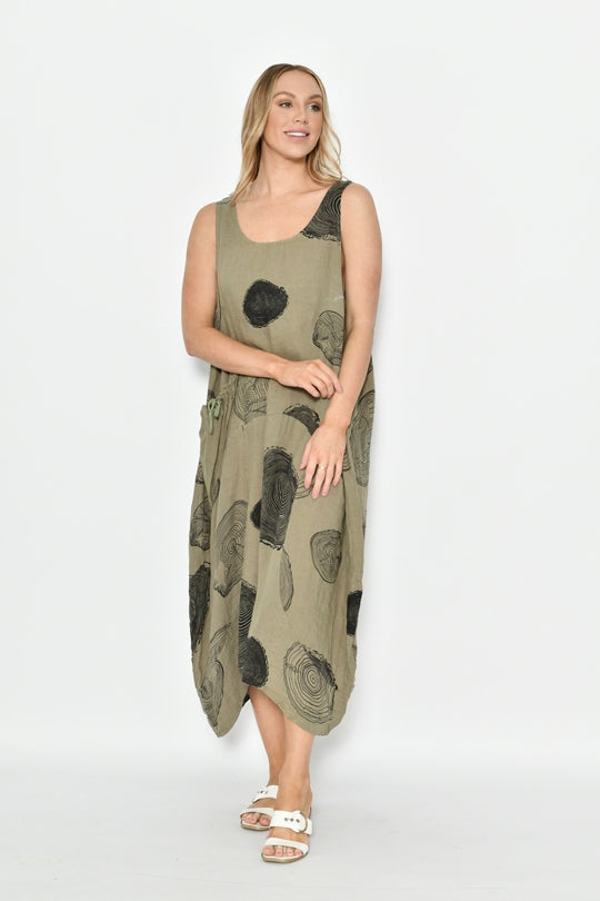 Image of Dallas Swirl Print Khaki Linen Dress