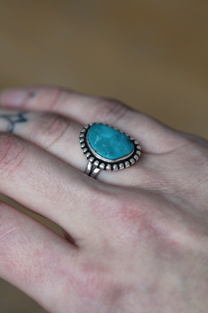Turquoise Sterling Silver Ring - Size 6.25