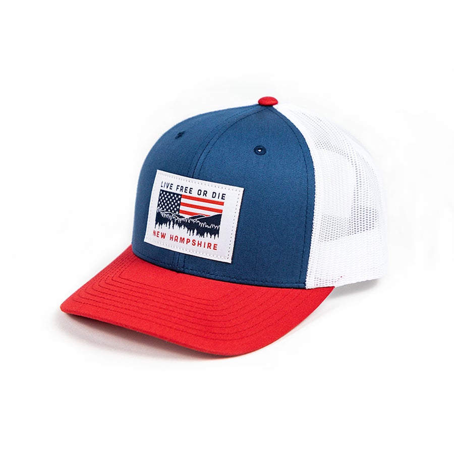 Image of NH Red, White & Blue Cap- Red, Navy/White Mesh