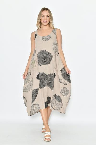 Image of Dallas Swirl Print Beige Linen Dress