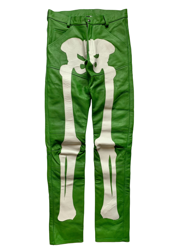 Image of IRISH GREEN BIKER BONES SKINNY LEATHER PANTS*EXCLUSIVE*