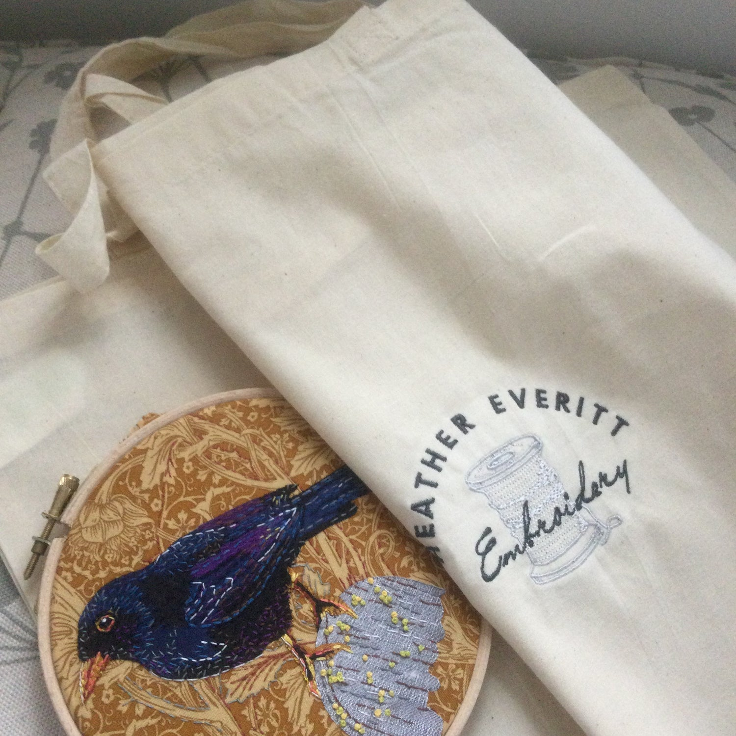 Image of Puffin applique and hand embroidery kit in linen and silk.