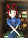 1940s style Rosie the Riveter rag doll