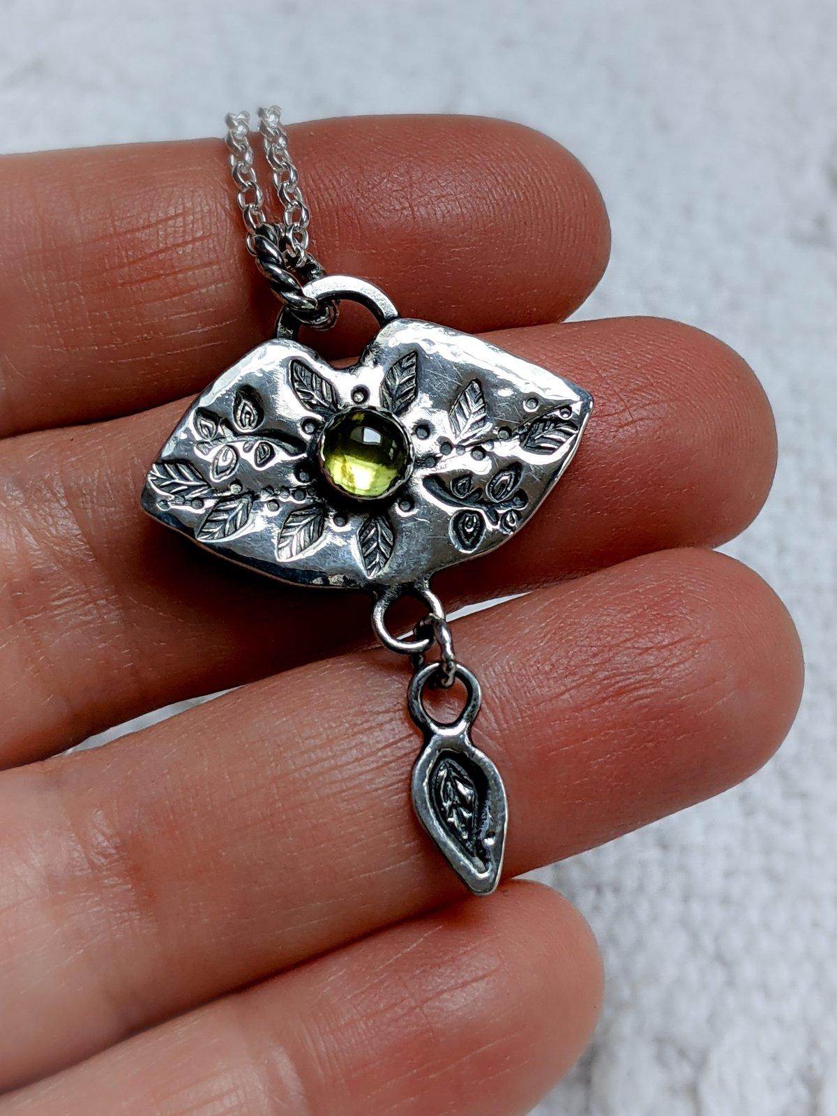 Woodland Whisperer peridot & recycled silver pendant