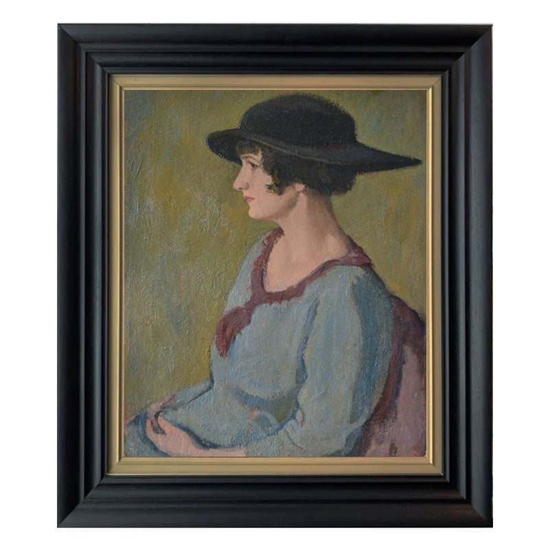 Image of Early 20th Century, Swiss Oil Painting Portrait of a Lady.