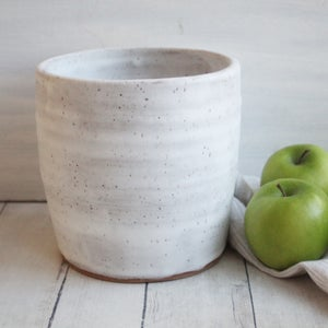Image of Extra Large Utensil Holder in Matte White and Speckled Stoneware, Handmade Ceramic Kitchen Crock