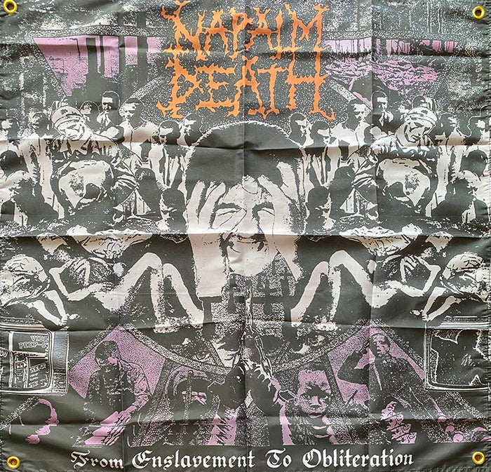 "Image of Napalm Death "" From Enslavement To Obliteration "" Flag / Banner / Tapestry"