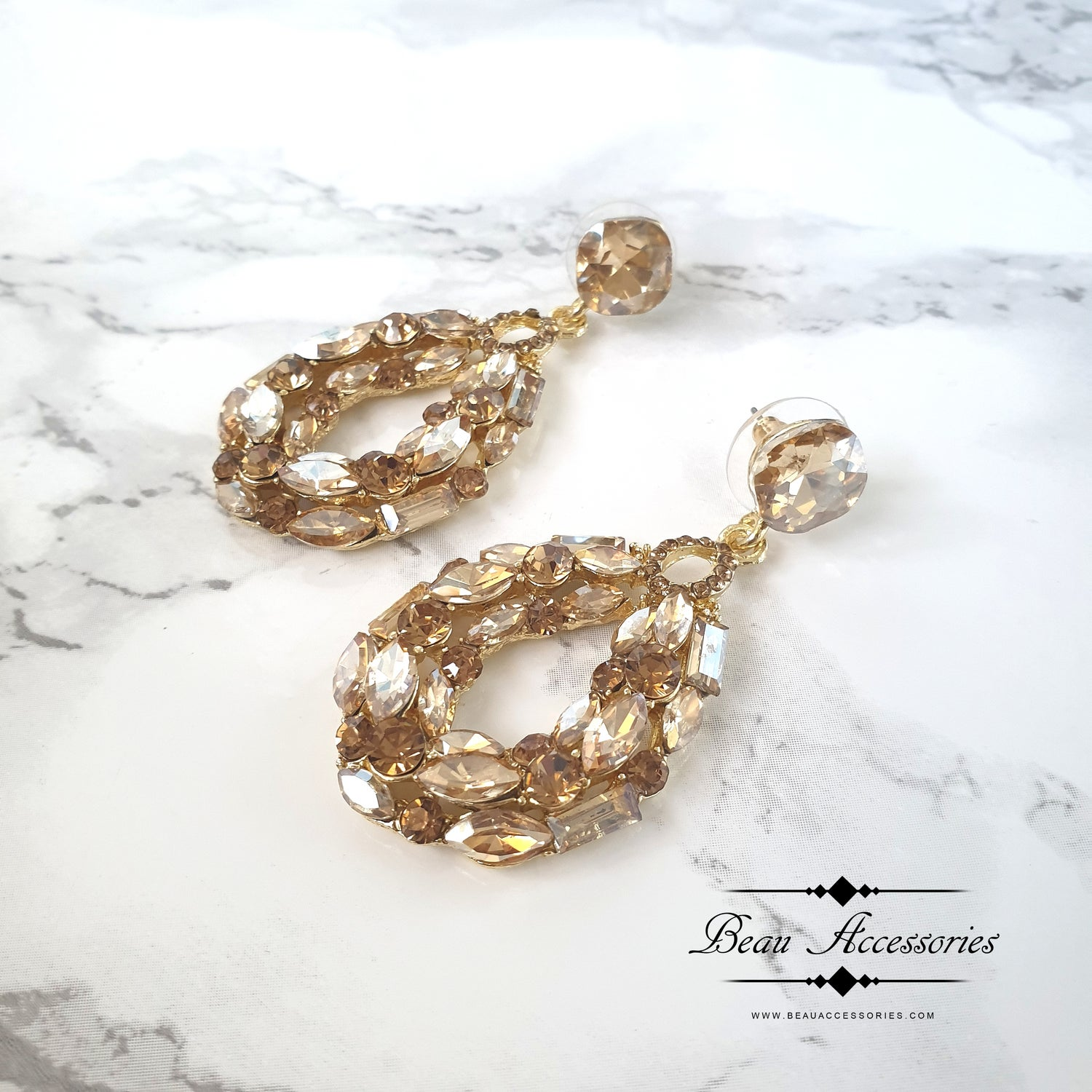 Image of Gold Glass Oval Statement Earrings