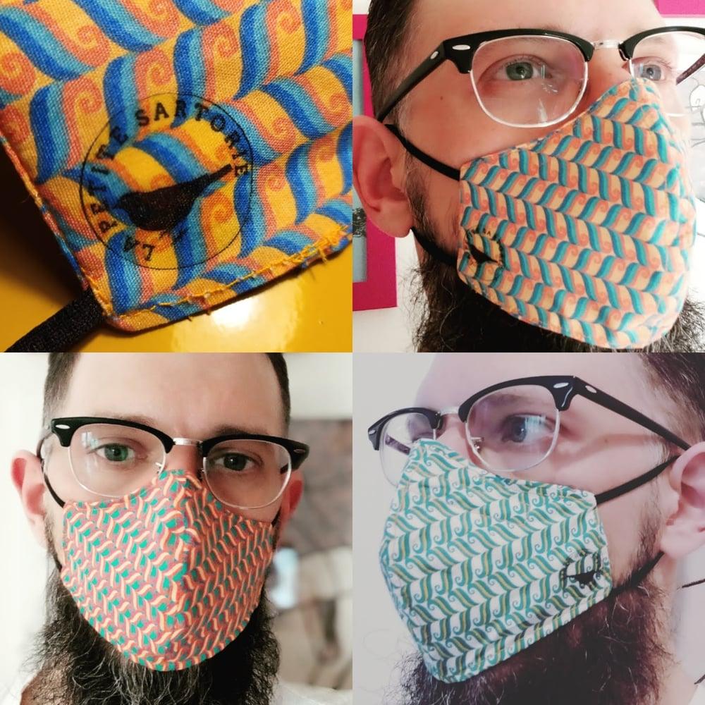 Image of Designer Face Masks - Art Deco Colorful waves