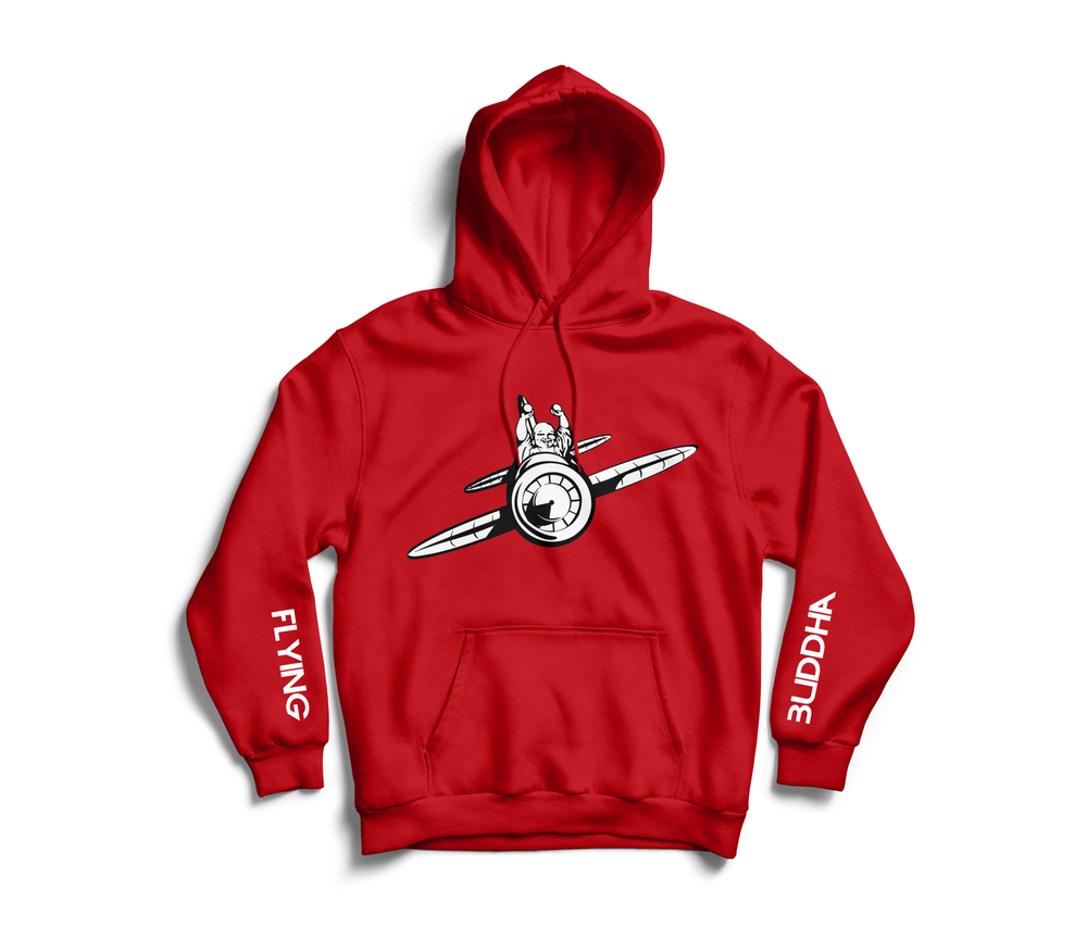 Image of Red 'Flying Buddha' Sleeve Hoodie