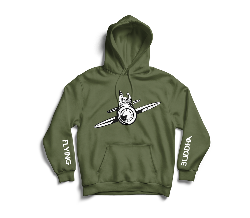 Image of Military Green 'Flying Buddha' Sleeve Hoodie