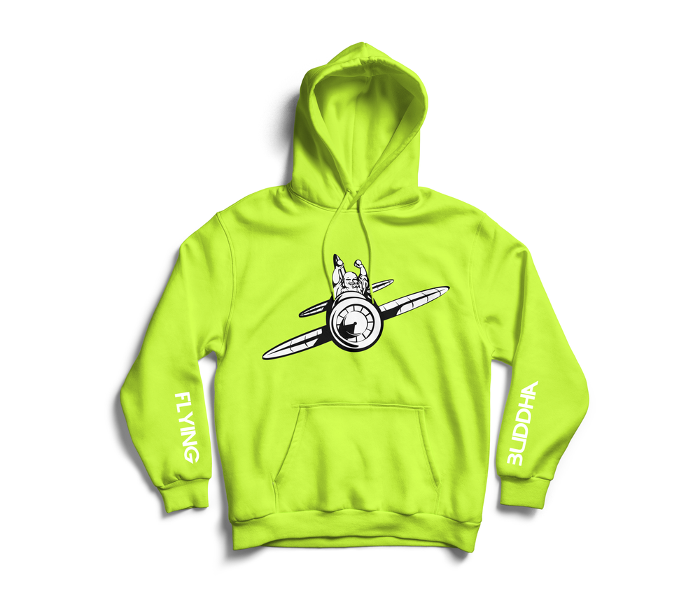 Image of Safety Green 'Flying Buddha' Sleeve Hoodie