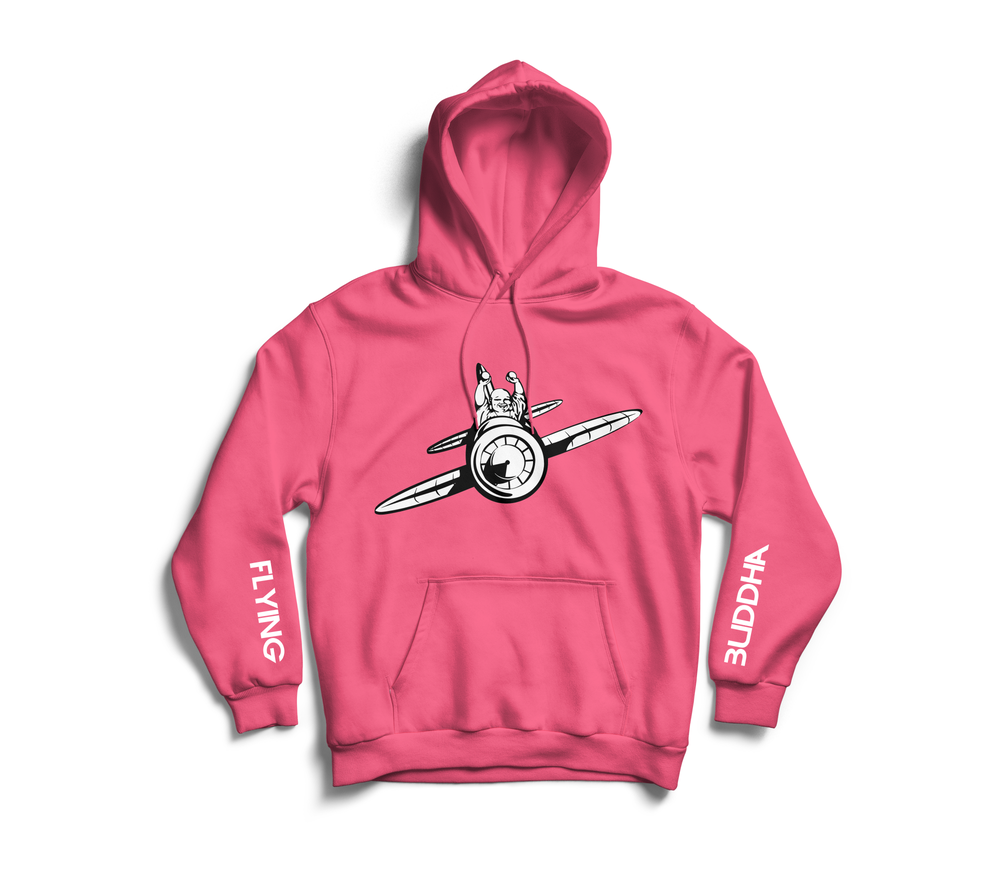 Image of Safety Pink 'Flying Buddha' Sleeve Hoodie