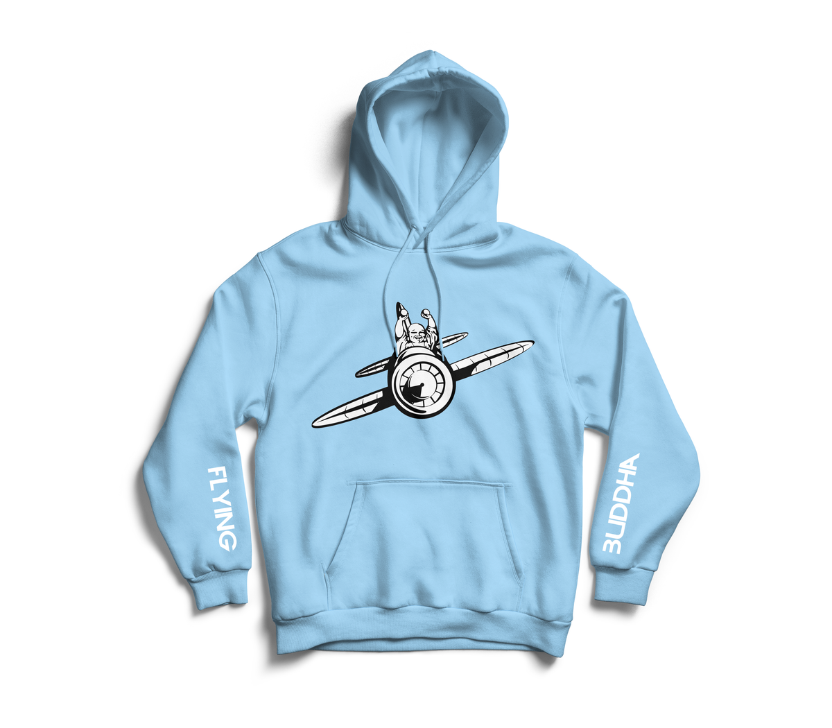 Image of Powder Blue 'Flying Buddha' Sleeve Hoodie