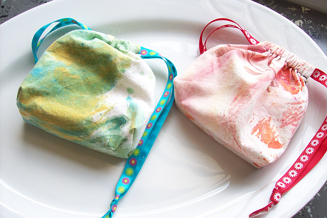 Image of Two Soaps in a Sack-Handmade Gift Set-(Monogram option) Hand-dyed Sack-Choice of any $7 or less Soap