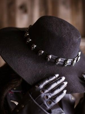 Image of Gun Metal Sacred Skull Hatband / Wristband