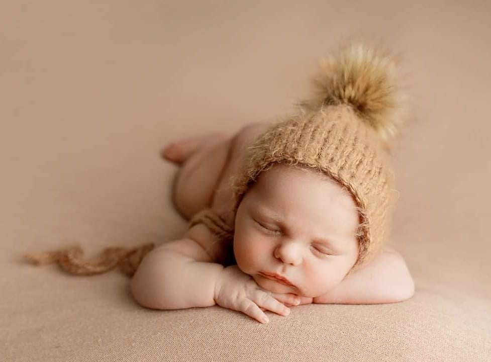 Image of Clay Chunky Knit Fuzzy Bonnet with removable faux fur pom