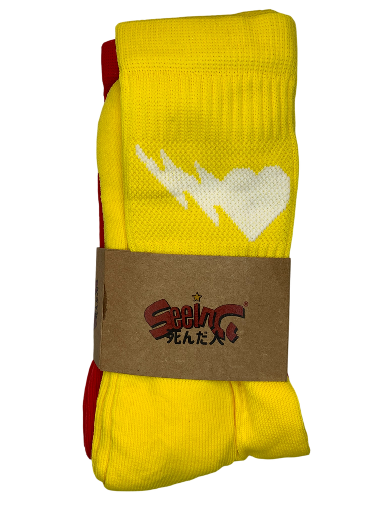 Image of YELLOW AND RED CREW SOCKS