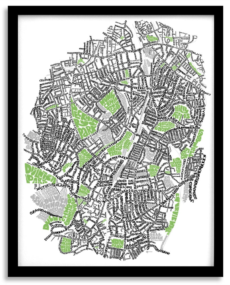 Image of SE London Parks – New Cross - Brockley - Nunhead - Forest Hill - Dulwich - Sydenham - Type Map