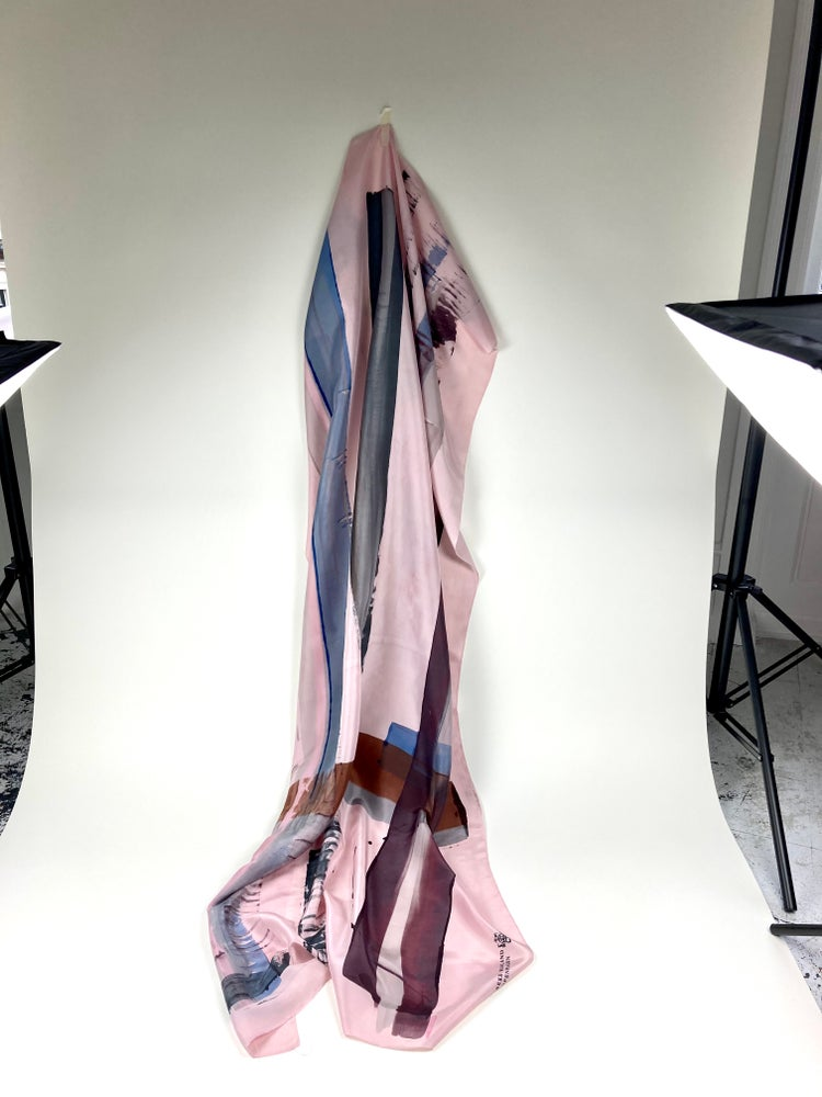 Image of Scarf silk. Brown and greyblue on powder pink