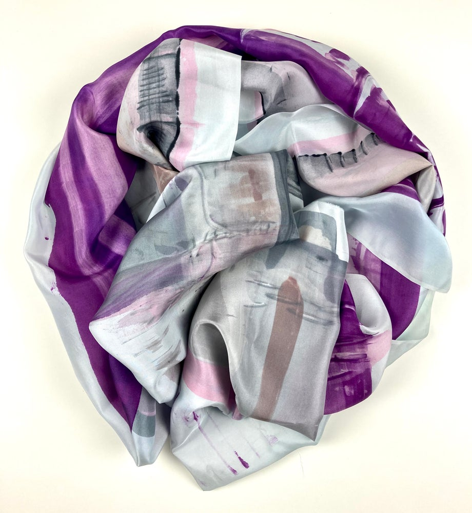 Image of Silk scarf. Soft greys, black beige and powder pink with one purple.