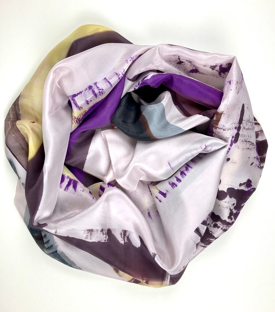 Image of Scarf silk. Brown purple grey black and one soft yellow on grey/powder.