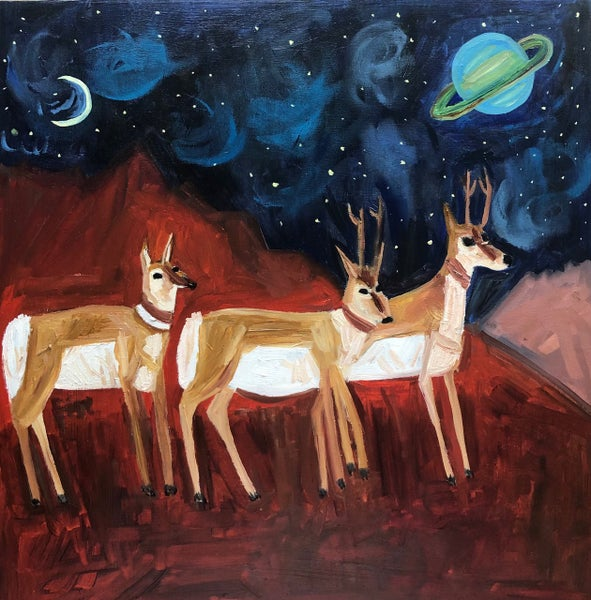 Image of On a clear night, antelope can see the rings of Saturn. Original oil painting.