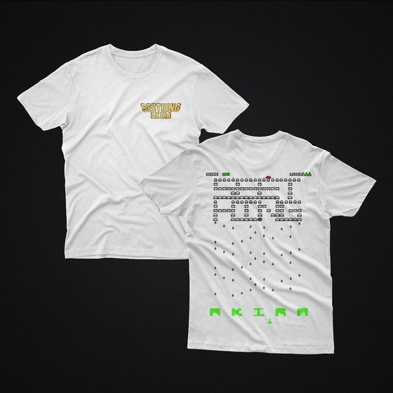 Image of White 'Space Invaders' Crewneck T-Shirt