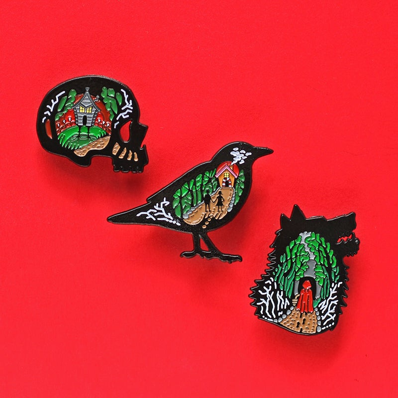 Image of Dark Fairytales 3 pin set - baba yaga - little red riding hood - Hansel & Gretel enamel pins
