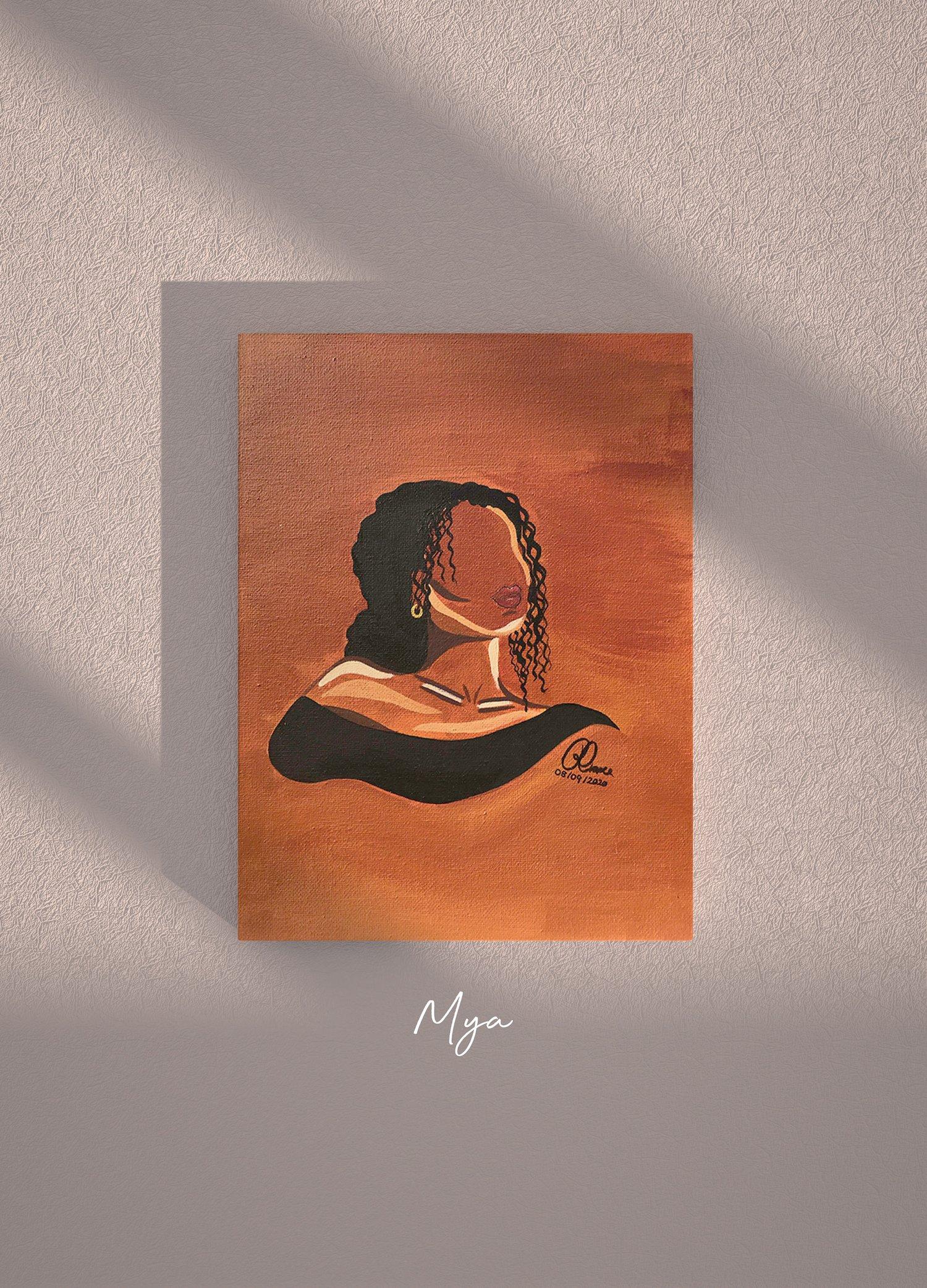 "Image of Mya | Black Girl Series | 9x12"" Acrylic Painting on Canvas"