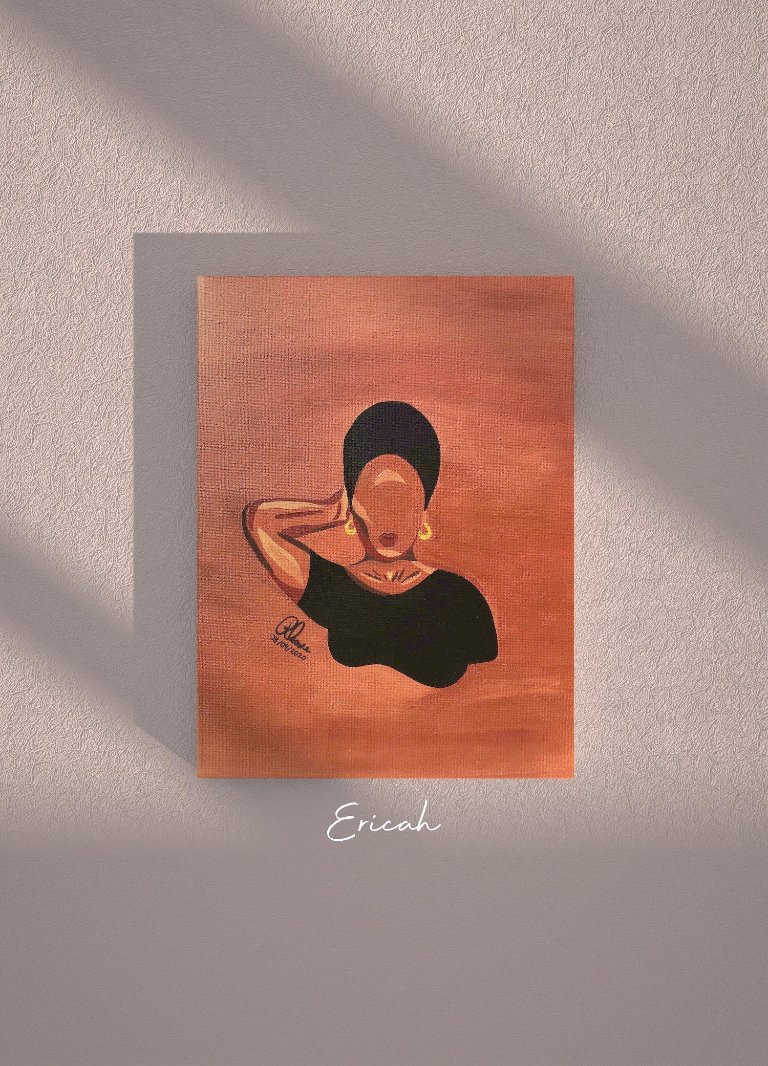 "Image of Ericah | Black Girl Series | Original 9x12"" Acrylic Painting on Canvas"