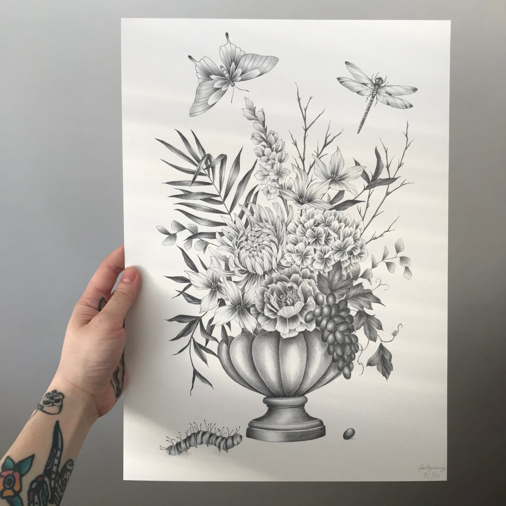 Image of A bountiful vase A3 print