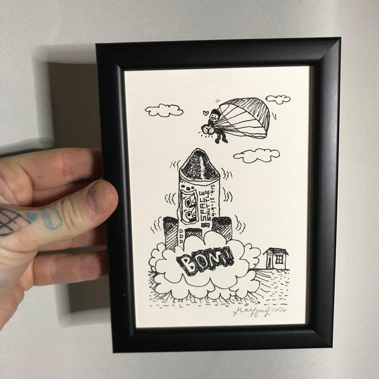 Image of Rocket Man (Original Drawing w/frame)