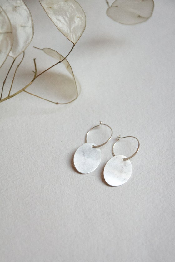 Image of NEW recycled silver Hoop oval drop earrings