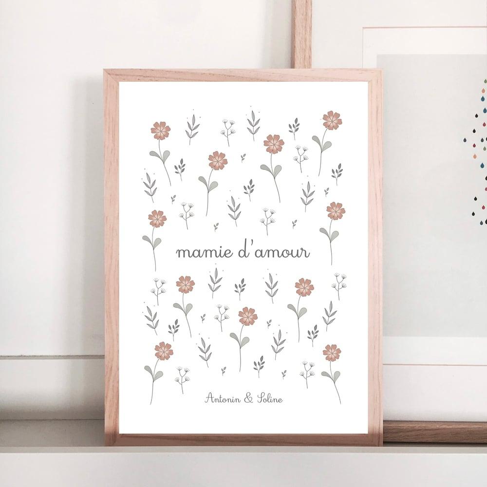 Image of Affiche Mamie d'amour jardin fleuri