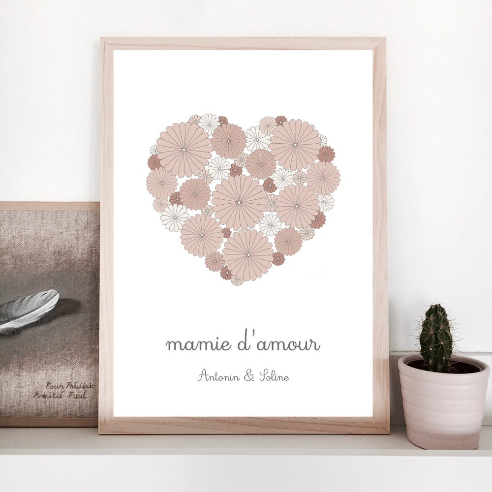 Image of Affiche - Mamie d'amour coeur fleuri