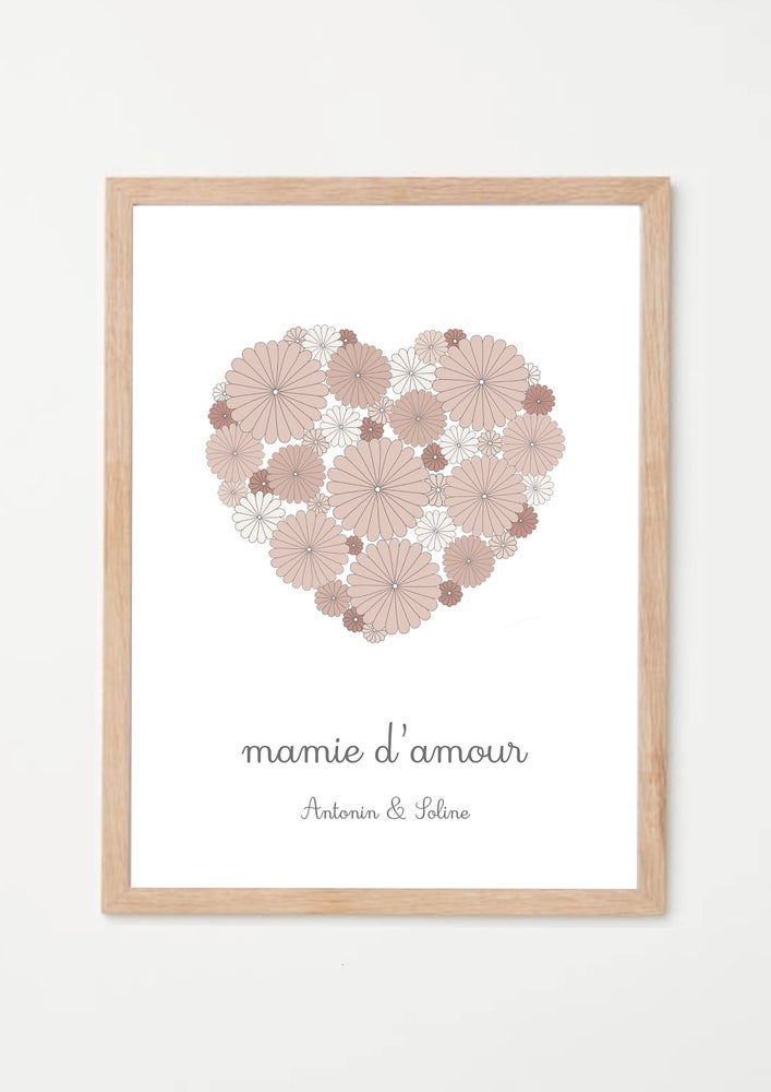 Image of Affiche Mamie d'amour coeur fleuri