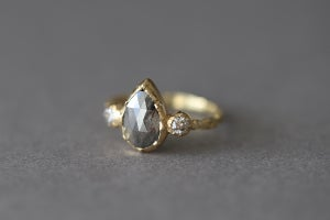 Image of 18ct gold, Pear shape, Salt and Pepper, Rose cut  diamond ring  IOW168