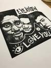 De La Soul. Eye Know Eye Love You. Original A3 linocut print.