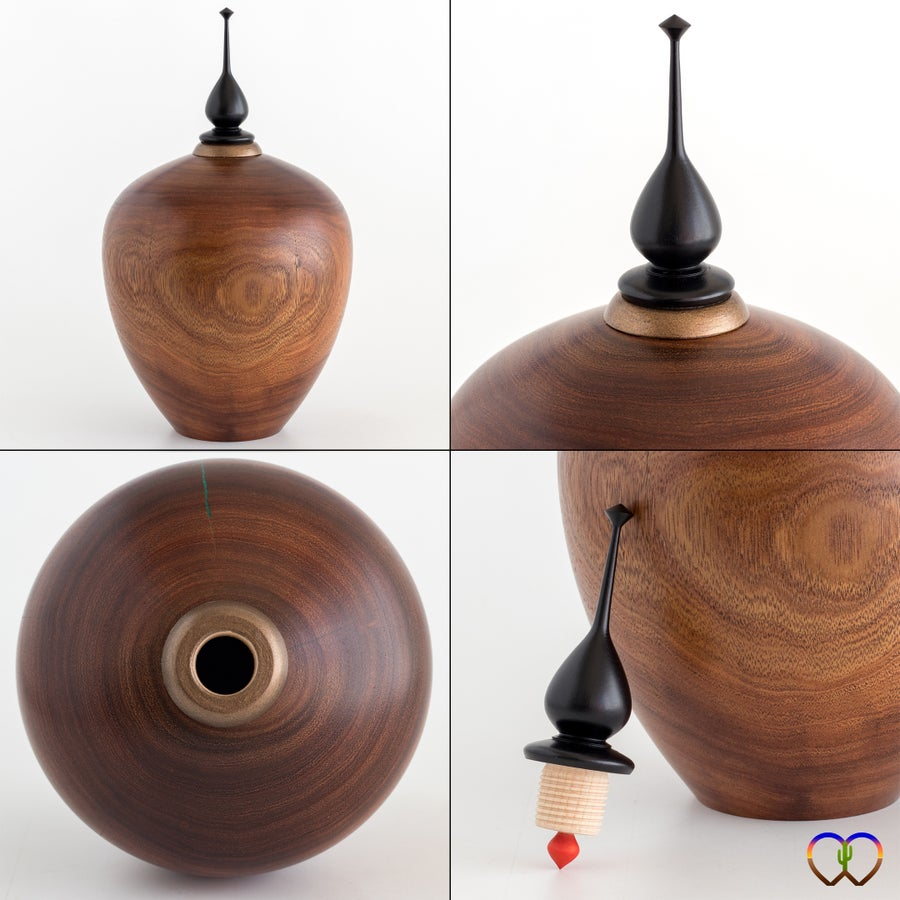 Image of Mesquite Hollow Form / Urn with Malachite Inlay