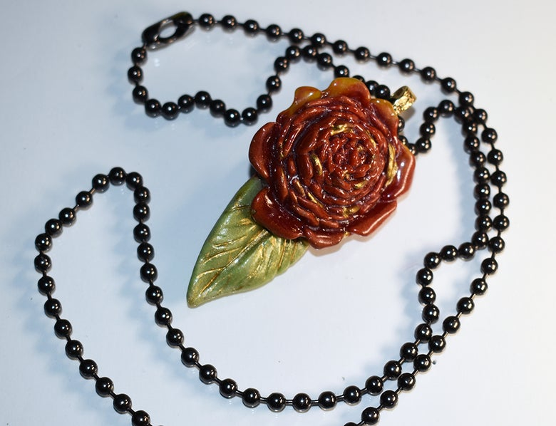 """Image of Fused Glass Pendant """"I Give You A Single Red Rose"""""""