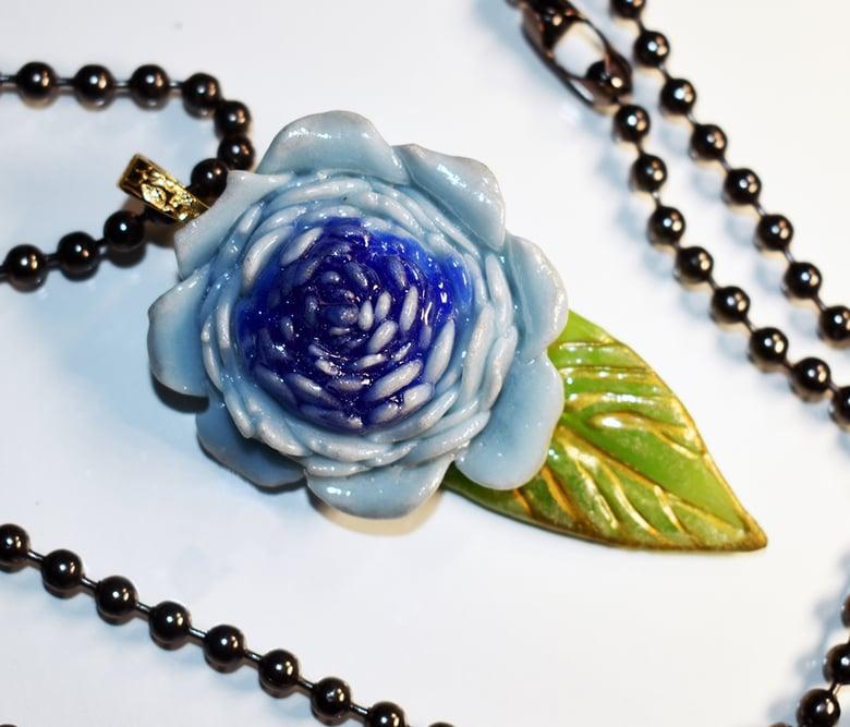 "Image of Fused Glass Pendant Cobalt ""Blue Rose"""
