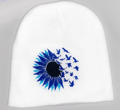 Image of fly away sunflower beanie