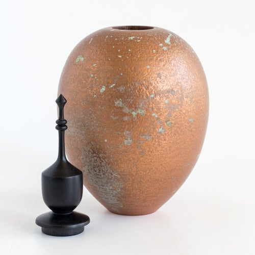 Image of Mesquite Vessel with Copper Patina