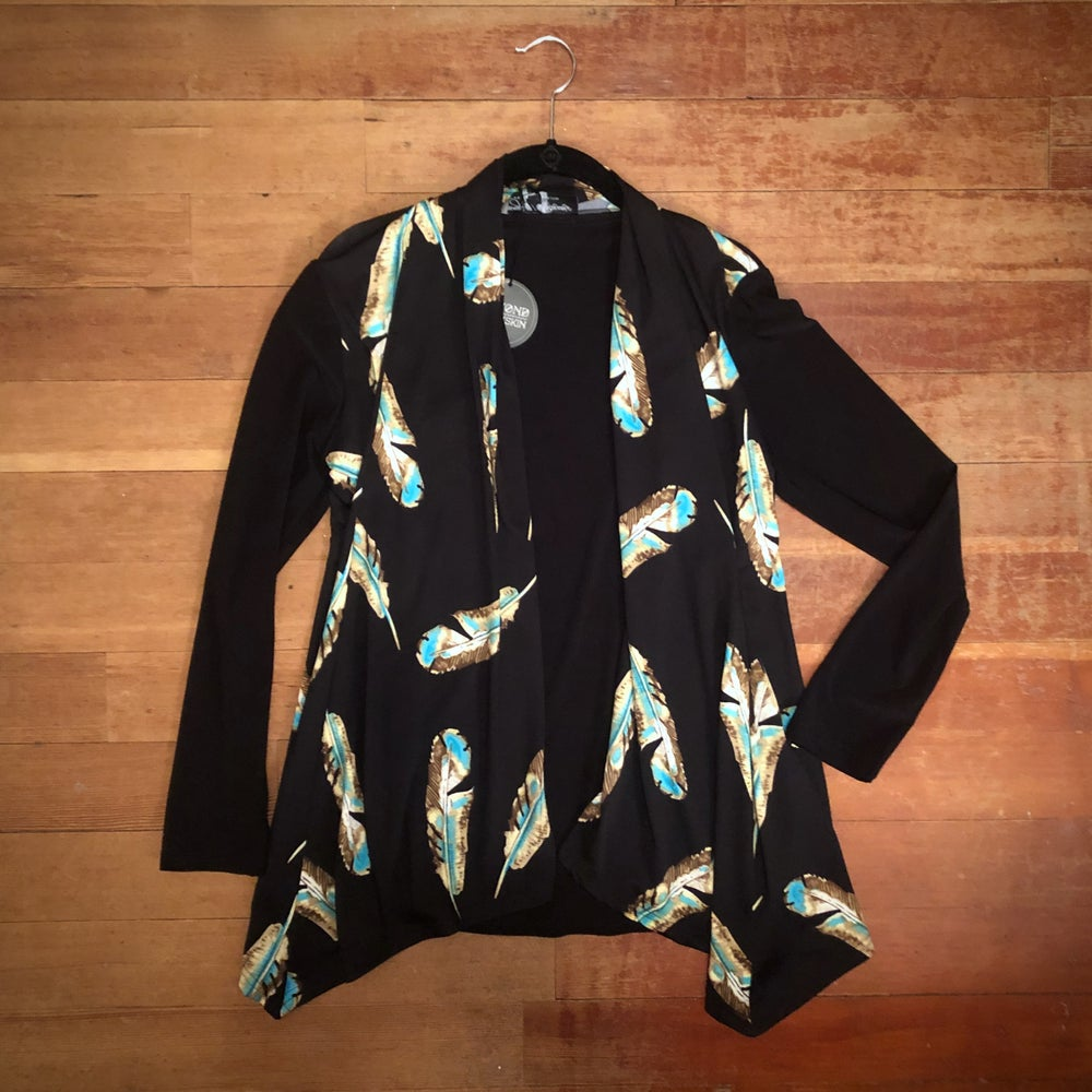 Image of Turquoise Feather Cardigan (Sm/Med)